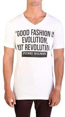 Pierre Balmain Men's Good Fashion Graphic Logo V-neck T-shirt White.