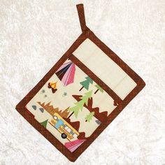 Camping Pot Holder • Pocket Hot Pad • RV Potholder • Trailer Retro Camper • Camping Decor • Glamping • Cream Brown • Gift