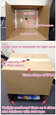 Make your own iPad Photo Stand.  Great for helping kids photograph their own artwork.