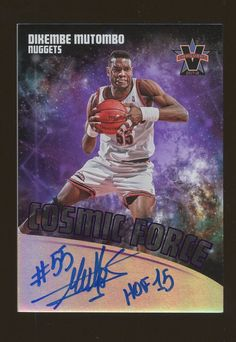 06a663f7311 For sale is a Cosmic Force Autograph card of Dikembe Mutombo from Panini  Vanguard basketball