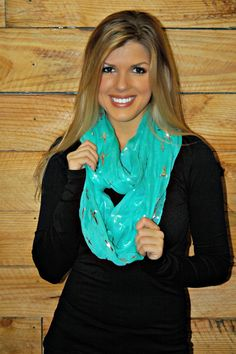 Mint Infinity Scarf with Silver Crosses!