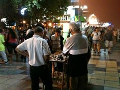 Evening chess game on the plaza, Mar Del Plata, Argentina