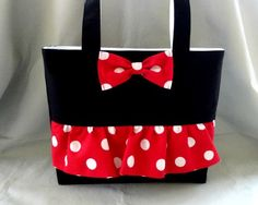 Would be perfect for Disney trips. Minnie Mouse Inspired Tote Bag With White Interior. $25.00, via Etsy.