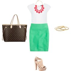 Green and Pink work outfit by kekilian on Polyvore