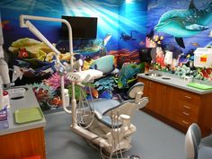 Add an underwater room wrap to your dental office and your patients will want to keep coming back! Dental Wallpaper, Office Wallpaper, Room Wallpaper, Dental Office Decor, Dental Office Design, Office Designs, Office Ideas, Underwater Room, Dental Kids
