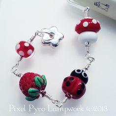Ladybird lampwork beaded bookmark. £15.00