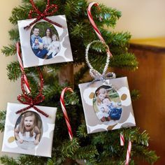 The top of tissue boxes, a few sheets of leftover wrapping paper and some shiny pipe cleaners are a picture-perfect way to dress up your tree with family memories.