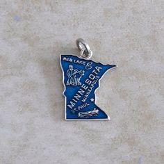 Minnesota Blue Enamel State Map Sterling Silver Souvenir Travel Bracelet Charm by Charmcrazey on Etsy