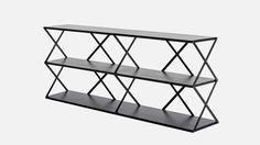 "Lift 6 Shelf in Black $449, 63""W 14""D 28""H"