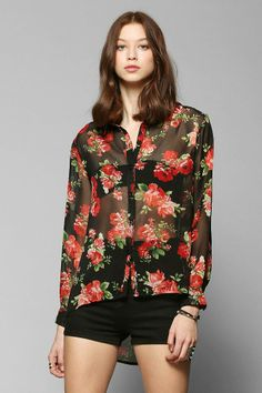 Reverse Red Roses Chiffon Button-Down Blouse #urbanoutfitters