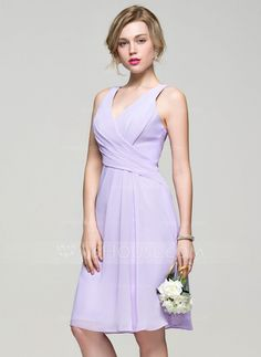 [US$ 91.49] A-Line/Princess V-neck Knee-Length Chiffon Bridesmaid Dress With Ruffle (007074191)