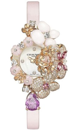 Diamond Watches Ideas : Illustration Description Chaumet Hortensia Secret jewellery watch with powder-pink flowers sculpted in precious gemstones and set with diamonds and pink sapphires. High Jewelry, Jewelry Box, Jewelry Watches, Jewelry Accessories, Watch Accessories, Body Jewelry, Jewlery, Jewelry Design, Saphir Rose