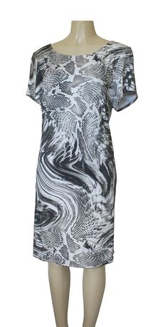 NWOT ABS Allen B Schwartz Dress Women's 2X Plus Size Snake Print Black Brown   #ABSbyAllenSchwartz #Sundress #Casual