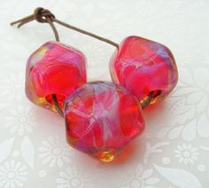 Lampwork Glass Beads Hot Pink Rocks by shineon2 on Etsy, £12.00