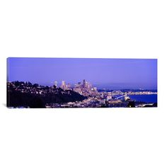 "East Urban Home Panoramic City Skyline at Dusk, Seattle, King County, Washington State Photographic Print on Canvas Size: 12"" H x 36"" W x 0.75"" D"