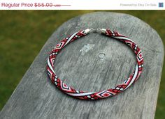 Rope necklace colorful  red white black beaded necklace by Daidija