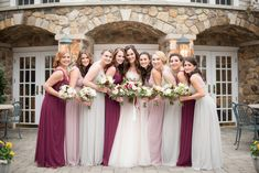 Thrilled with how my vision came to life in this photo. These girls are my everything. #SQUADGOALS. NJ wedding photos by NYC wedding photographer Mikkel Paige Photography. Mix match Fall bridesmaids in marsala wine, grey and mauve dusty rose BHLDN gowns.