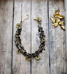 Black Natural Stone Golden Flowers Oya Crochet Beaded Bridal Necklace Jewellery, Beadwork, Crochet ReddApple,  Gift Ideas for Her