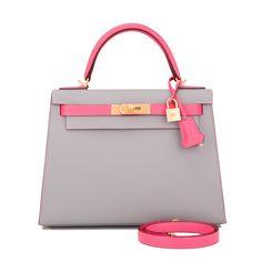Hermes Sellier Kelly Bag 28cm HSS Bi-Color Gris Mouette and Rose Azalea Epsom Brushed Gold Hardware Image 1