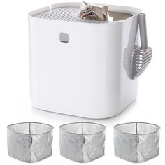 Modkat Litter Box Bundle – 5 items: Litter Box, Scoop and 3 Reusable Liners - White