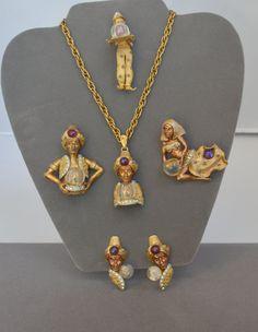Vintage HAR Genie Necklace Pendant Earrings by JewelryBoulevard, $8300.00