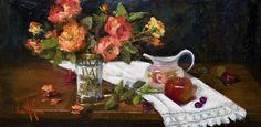 "Oil painting ""Fresh Cut Roses"" by Artist, Nora Kasten Oil Painting Flowers, Garden Painting, Artist Painting, Flower Paintings, Paintings I Love, Your Paintings, Still Life Flowers, Painting Inspiration, Flower Art"