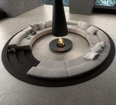 Rund Sofa Set schwarz weiß Kaminofen Wohnzimmer Design