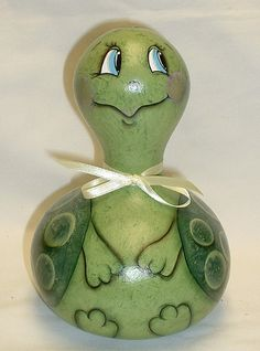 Hand Painted Gourd Turtle by FromGramsHouse on Etsy,