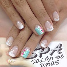 Cute Nail Art Design And Ideas for Teens Fabulous Nails, Perfect Nails, French Nails, Vintage Nails, Manicure E Pedicure, Crazy Nails, Nail Decorations, Flower Nails, Toe Nails