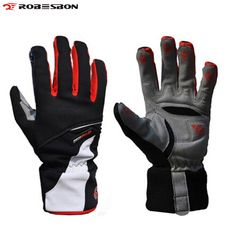 ROBESBON Band High quality Warm Winter Thicken Bike Bicycle Glove Thermal Fleece Windproof Rainproof Full Finger Cycling Gloves