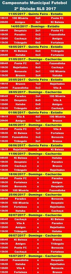 Vaiquemoli: Tabela 2º Divisão Futebol SLS 2017
