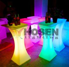 party plastic table led cocktail table for bar square bar table 100cm