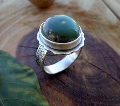 Chrysoprase sterling silver ring silversmith by SelinofosArt