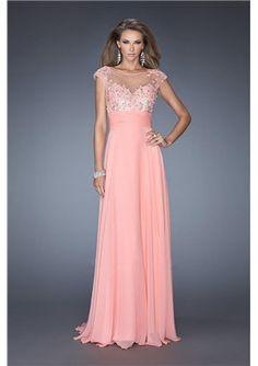 Wonderful Scoop Neckline Mesh Illusion Open Back Beaded Prom Dress 2014 Style