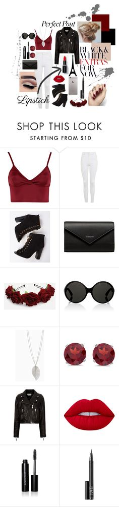 """Lipstick"" by kerryeldridge ❤ liked on Polyvore featuring Lipsy, Topshop, Balenciaga, Yves Saint Laurent, BillyTheTree, Étoile Isabel Marant, Lime Crime, Bobbi Brown Cosmetics and NARS Cosmetics"