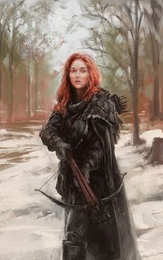Woman warrior with crossbow in the snow. Red :¦: Artist Lane Brown ☆