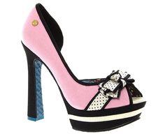 Babycham Womens Ladies Pink CanvasSemi Dorsay Peep Toe Platform Shoes