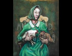Chicken Nancy Luce, Original Painting, Poet, Portrait, Chickens, Birds, Martha's Vineyard, Eccentric, 19th Century, Woman, Unique, Pets by mygoodbabushka on Etsy