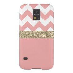 Pink and Gold Glitter Chevron Samsung Galaxy S5