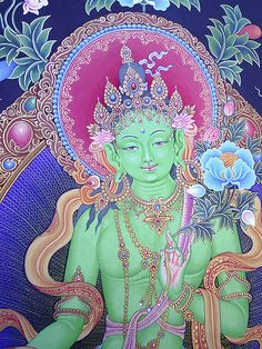 """Green Tara is an archetype of our own inner wisdom. She guides and protects us as we navigate the depths of our unconscious minds, helping us to transform consciousness, our own personal journeys of freedom. It is the goddess Tara who helps us to remain """"centered"""". The myths of the Goddess Tara remind us of our """"oneness"""" with all of creation and the importance of nurturing the spirit within."""