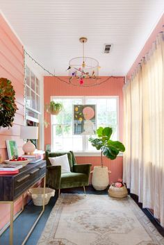 Painter Chambers Austelle's Art-Filled Charleston Bungalow: gallery image 4 Feng Shui, Pantone, Bungalow, San Francisco Houses, Charleston Homes, Brooklyn Apartment, Melbourne House, Pink Houses, Pastel Pink
