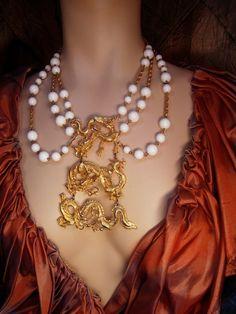 Vintage SIgned Vogue HUGE dragon necklace by vintagesparkles