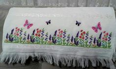 This Pin was discovered by sez Butterfly Cross Stitch, Cross Stitch Rose, Cross Stitch Flowers, Crewel Embroidery, Cross Stitch Embroidery, Embroidery Patterns, Cross Stitch Patterns, Linen Towels, 3d Paper