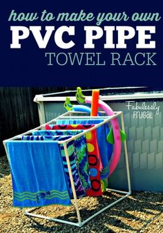 How to build your own PVC Towel Rack... just in time for summer! Perfect for pools and hot tubs!