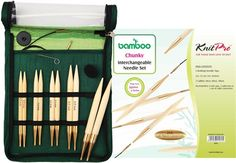 Knitter's Pride Japanese Bamboo Interchangeable Circular Needle Sets feature 10 needle pairs with gold-plated connectors. Shown here is the chunky set! Knitting Needle Sets, Circular Knitting Needles, Loom Knitting, Japanese Bamboo, Green Fabric, Tricks, Gave, Let, Yarns