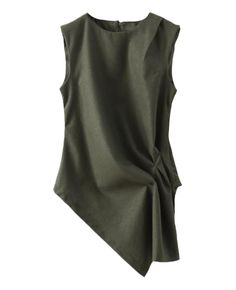 Asymmetric Sleeveless Woolen Top | BlackFive