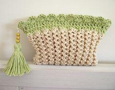 KNITTING BAG PATTERN Cosmetic bag Purse with Tassel and Crochet Trim - Nancy…