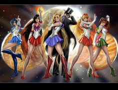 Sailor moon, Tuxedo Kamen/Mask, & the Inner Senshi/Scouts by Nebezial(/Stjepan Sejic of Top Cow comic books) on deviantART.