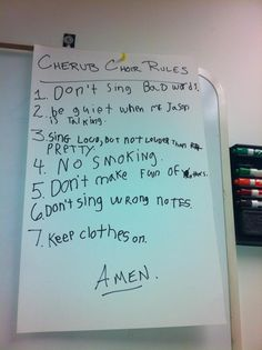 Children's Choir Rules- in honor of teaching my first children's choir tonight! haha - Thinking these are pretty good rules in general!