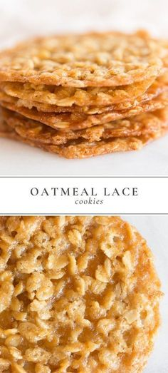 Oatmeal Lace Cookies are a thin, chewy oatmeal cookie with a deliciously sugary . , Oatmeal Lace Cookies are a thin, chewy oatmeal cookie with a deliciously sugary taste, that are stackable for easy gifting. Lace Cookies are made with. Cake Mix Cookie Recipes, Yummy Cookies, Brownie Cookies, Simple Cookie Recipes, Lace Cookies Recipe, Quick Dessert Recipes, Easy To Make Desserts, Cookies Recipe Chewy, Recipe For Oatmeal Cookies